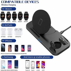 EKSPRAD 3 in 1 Wireless Charger 15W Fast Wireless Charging Stand for iPhone 11Pro X XS Apple Watch Series 5 4 3 Airpods Pro 1 2
