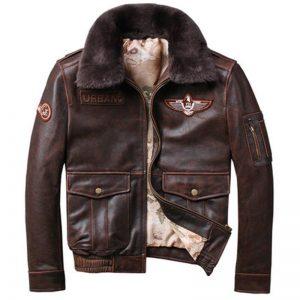 2019 Vintage Men's G1 Air Force Pilot Jackets Genuine Leather Cowhide Jacket Plus Size 5XL Fur Collar Winter Coat for Male