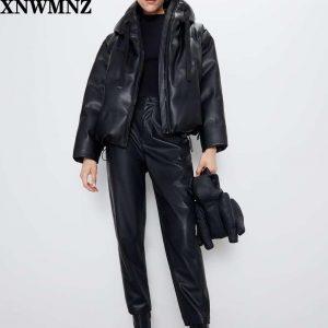 Za Women black fur faux leather jacket coat oversized zipper 2020 Winter Female Thick pu hooded jacket Overcoat High quality