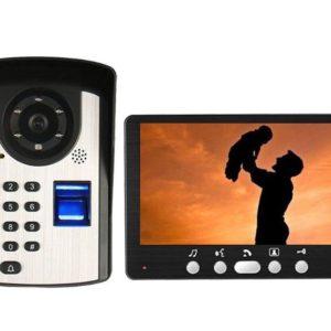 7 inch Wired Fingerprint /Password Video Door Phone Doorbell Intercom System with Door Access Control System Kits Camera/Monitor