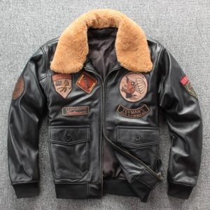 2019 Men's Vintage Genuine Leather Jacket Woolen Cowhide Jackets Air Force Flying Bomber Coat for Male