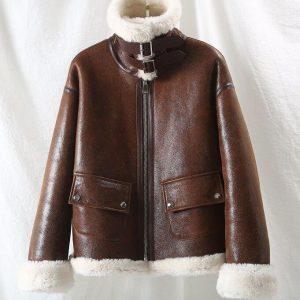OFTBUY 2020 Brand Winter Jacket Women Real Fur Coat Natural Merino Sheep Fur Genuine Leather Outerwear Streetwear Thick Warm