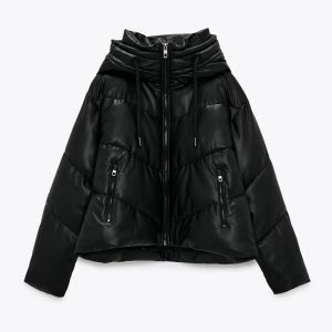 Hadara Winter Thick Zipper Hooded Parkas Women Fashion PU Leather Coats Women Elegant A Line Cotton Jackets Female Ladies IN