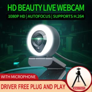HD 1080P With Microphone And 3-Gear Light Conference Video Computer HD Webcam Web Camera For PC Laptop With Mic Auto Focus