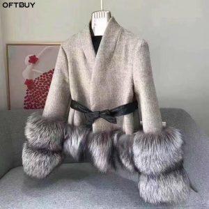 OFTBUY Winter Jacket Women Real Fur Coat 100% Natural Silver Fox Fur Cuff Thick Warm Cashmere Wool Blends Outwear Streetwear New