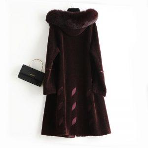 PUDI  women winter real wool fur real fox hood warm jacket coat lady age reduction Long coat jacket over size parka A50029