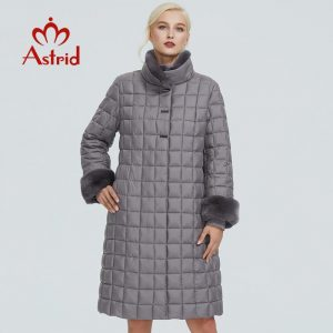 2019 Astrid winter jacket women with fur collar design long thick cotton clothing fashion grid pattern warm women parka FR-2040