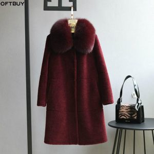 OFTBUY fox fur collar long Parka Winter Jacket Women Real Fur Coat 100% Woven Wool Teddy Polar Fleece Bear Plush vintage fashion