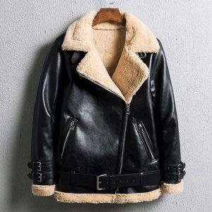 Winter Bomber Jacket Women 2019 New Lamb Fur Motorcycle Overcoats Fashion Solid Outerwear Women Leather Jacket Winter Coats
