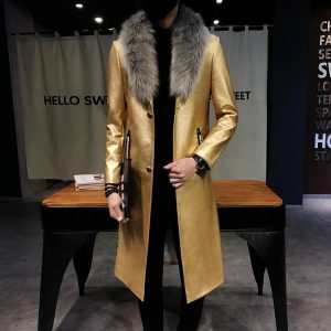 Big Fur Collar  Mens faux Leather Trench Coats Men Overcoats Luxury Veste Homme Gold Long Coats Slim Fit Chaqueta Cuero Hombre