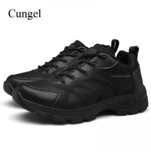 Cungel Plus size Men Hiking shoes Army Tactical shoes Outdoor Mountain Desert Military Combat shoes Non-slip Sand Black shoes