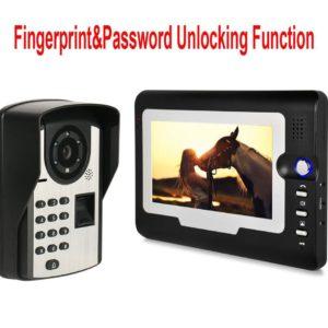 """Mountainone New Arrival Home Security Intercom System 7"""" Video Door Phone/Door Bell w/t Password&Fingerprint Unlocking Function"""