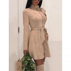 Faux suede leather dress 2019 Autumn fashion women suede leather dress with belt Vintage a line party dresses high waist vestido