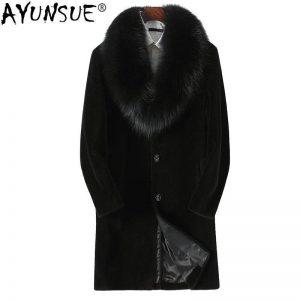 AYUNSUE Natural Sheep Shearling Fur Coat Winter Jacket Men 100%Wool Fur Coat Fox Fur Collar Men's Plus Size Coat KFS18M208 MY754