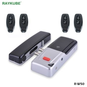RAYKUBE Electronic Door Lock Keyless With Wireless Remote Control Keys Invisible Remotly Door Lock For Home Door Security