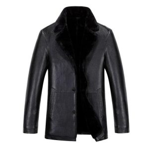Autumn Winter new style for men man leather Fleece coats fashion turn Down collar suede Plush Leather jackets thicken outerwear