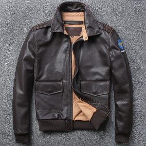 Free shipping.Brand A-2 style leather coat,plus size mens 100% genuine leather Jackets,classic Bomber flight jacket
