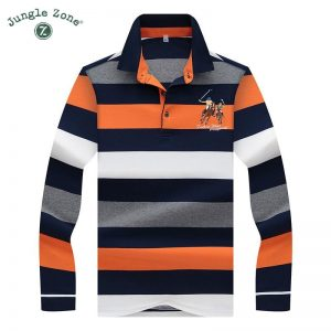 High Quality Solid color 3D Embroidery Polo Shirt Casual Polo Shirt men's Long sleeve polo shirt 2019 new Striped men Polos 8808