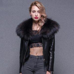 Winter Jacket Women 2020 Women Real Sheep Fur Coat Warm Genuine Merino Sheepskin Leather Parka Large Real Raccoon Fur Coats