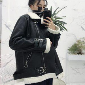 2019 Winter PU Jacket Windbreaker Women Leather Jacket Outwear Plus Size Black Lamb Fur Coat Jacket Loose Harajuku Bomber Jacket