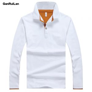 2019 Solid Polos Shirt Men Long Sleeve Cotton Mens Polo Tops Spring Autumn Brand Male Polo Classic Business Father Dress B0326