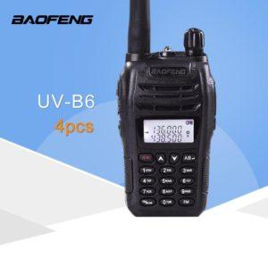 (4 PCS)Black BaoFeng Protable Radio UV-B6 Dual Band UHF VHF Two Way Radio Walkie Talkie Free Shipping