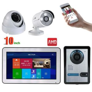 MOUNTAINONE 10 inch Wired Wifi Video Door Phone Doorbell Intercom Entry System and 2CH AHD Security Camera,Support Remote APP