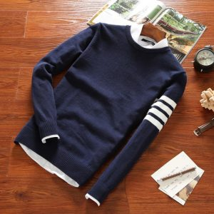 2019 Sweaters Men New Fashion Casual O-Neck Slim Cotton Knit Quality Mens Sweaters And Pullovers Men Brand Clothing Size M-3XL