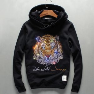 men winter hooded Pullover Sweatershirt with thick long sleeved cashmere Stone Tiger  cardigan fashion hoody