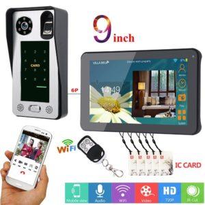 9inch Wired Wifi Fingerprint IC Card Video Door Phone Doorbell Intercom System System,Support Remote APP unlocking,Recording