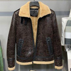 Plus Size 5XL Flight Mens Faux Shearling Fur Coat Men's Winter Fake Fur Trench Coat XXXXXL Winter Mens Leather Overcoats A325