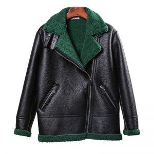 Faux Fur Coat New 2018 Winter Shearling Sheepskin Coats Lamb Motorcycle Long Sleeve Turn Down Collar 3 Collar PU Leather Jacket
