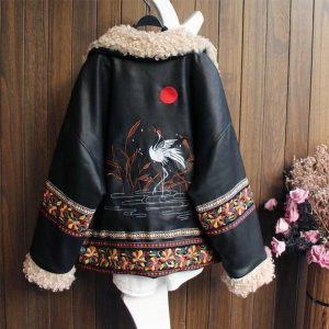 ZURICHOUSE Retro Winter Faux Leather Jacket Women Lambswool Embroidery Outwear 2020 Exotic PU Leather Plush Locomotive Jackets