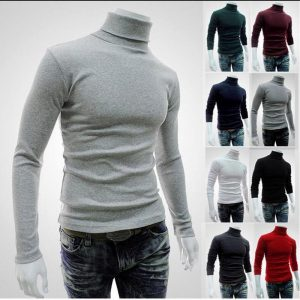 2019 New Autumn Winter Men'S Sweater Men'S Turtleneck Solid Color Casual Sweater Men's Slim Fit Brand Knitted Pullovers