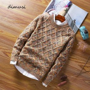 DIMUSI Autumn Winter Mens Sweaters Fashion Men O-Neck Slim Fit Pullover Sweater Men's Wool Knitted Pullovers Clothing,YA961