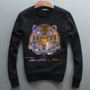 autumn of 2018 hoodies new men's head round neck sweatershirt Diamonds  Tiger youth leisure hoody