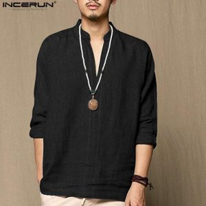 Chinese Retro Style Cotton Linen Clothing Men Casual Thin Breathable Long Sleeve Shirts Camisa Hombre Plain Spring Summer 2019