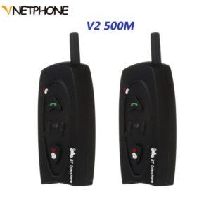 Pair Vnetphone motorcycle Bluetooth Helmet Intercom V2 500M Interphone 2Riders BT Walkie Talkie For Skiing Cycling Helmet H
