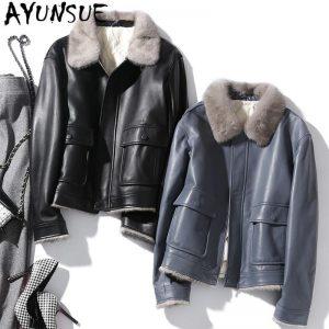 AYUYNSUE Genuine Leather Jacket Women Sheepskin Down Coat Women Clothes 2020 Korean Vintage Mink Fur Collar Coats SM1810 YY1947
