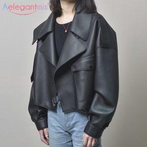 Aelegantmis Black Short Loose Pu Leather Jacket Autumn Winter Soft Faux Leather Jacket Street Casual Outwear Ladies Biker Jacket