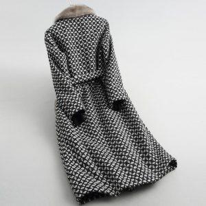 Pudi women real mink fur collar coat jacket trench female sheep Lamb Fur liner coats long parka A59051