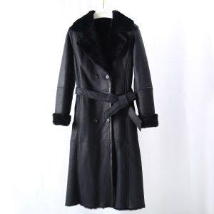 OFTBUY 2020 Long Windbreaker Belt Double Faced Fur Real Fur Coat Winter Jacket Women Genuine Leather Natural Merino Sheep Fur