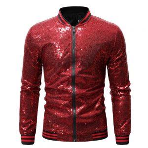 Vogue Nice Men Shiny Sequin Jackets Gold Sequin Glitter Men Slim Fit Jackets Nightclub DJ  Clothing Fashion Streetwear