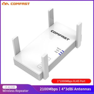 Comfast 2100Mbps Gigabit Dual Band 2.4&5.8GHz Wireless WiFi Repeater 4*3dBi Antenna Long Range WiFi Amplifier Signal Booster