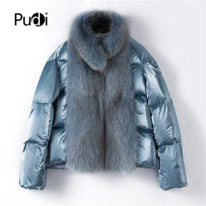 women duck down new Real fox fur parka jacket overcoat lady female winter fashion genuine fur coat outwear TX223914