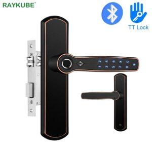 RAYKUBE Fingerprint Door Lock With Bluetooth TT Lock Phone APP Password Back-up Mechanical Key For Home / Hotel / Office