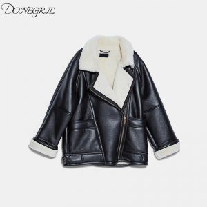 Quality black casual faux leather women jacket spring turn down collar zipper coats mujer streetwear pockets oversized jackets