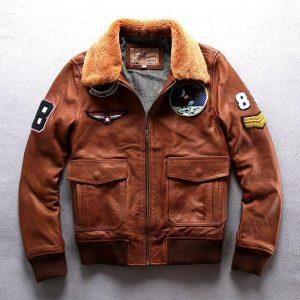 Mens Genuine Leather Bomber Pilot Jacket Real Cowhide Winter Warm Liner Cashmere Fur Collar Jacket R2808
