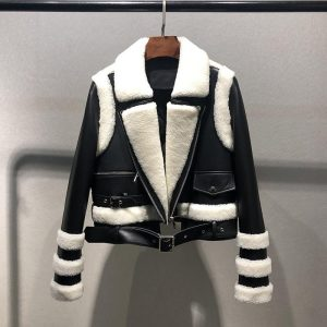 New arrival women coat spring and autumn 2020 fashion genuine leather jacket turn-down collar patchwork real sheep wool clothes