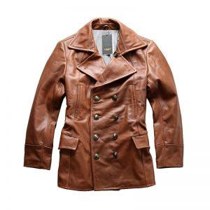 A1730 Read Description! Asian size excellent cow leather winter jacket men's classic cowhide leather pea coat
